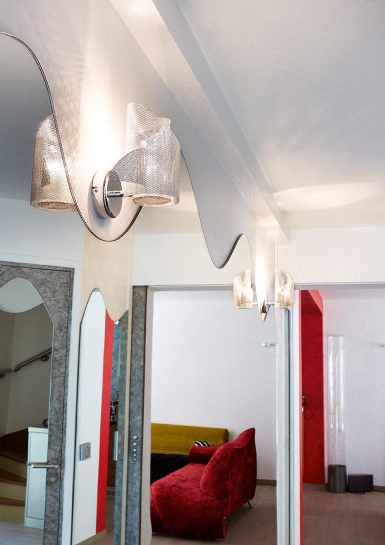 Lighting Angel & Demon wall lamp in a corridor Thierry Vidé Design