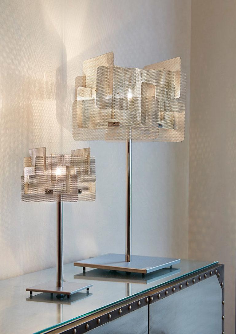 Luminaire lampe à poser Cube petite et grande Thierry Vidé Design