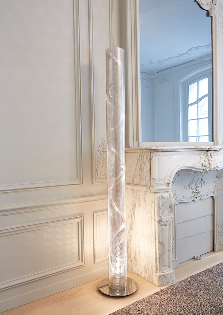 Lamp tall spiral column office with fireplace Thierry Vidé Design