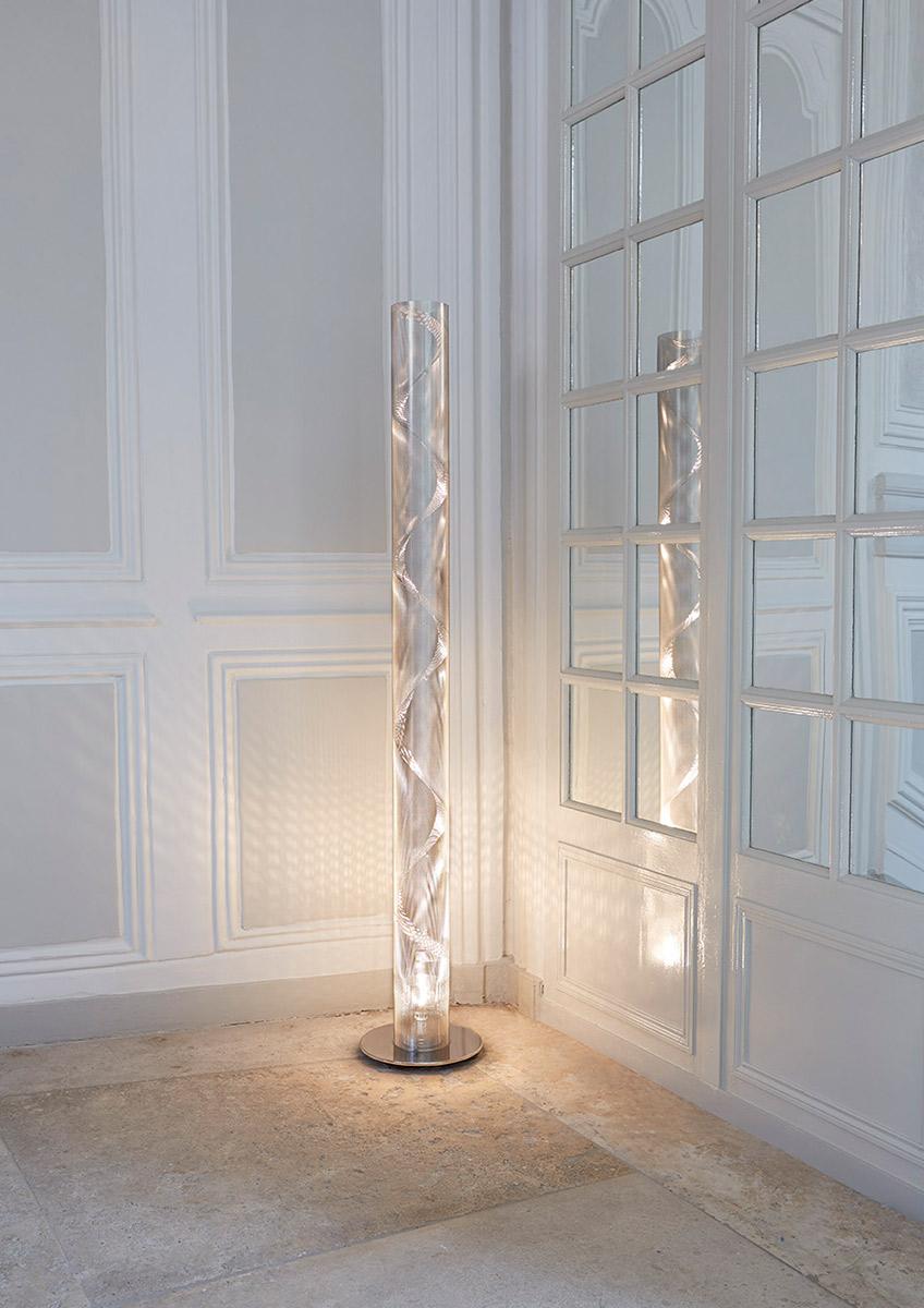 Luminaire colonne de lumière Grande Colonne Spirale Thierry Vidé Design