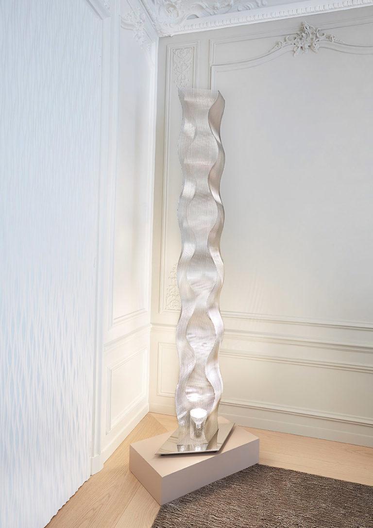 Luminaire Colonne Suculpture Lumineuse Onde Bois Colombes Bureau Thierry Vidé Design
