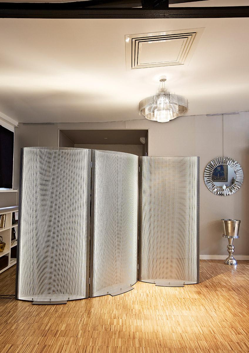 Luminaire paravent design salon Thierry Vidé Design