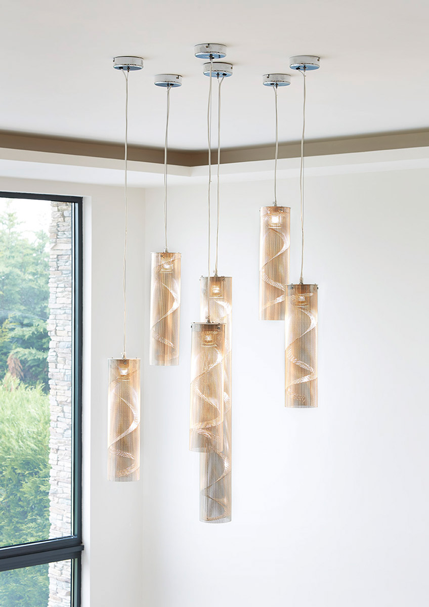 Lighting Spiral Suspension small and big size cluster of spiral house Thierry Vidé Design
