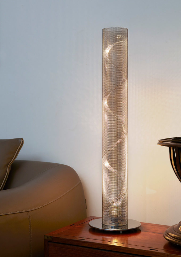 Lighting small spiral column in a living room light on Thierry Vidé Design