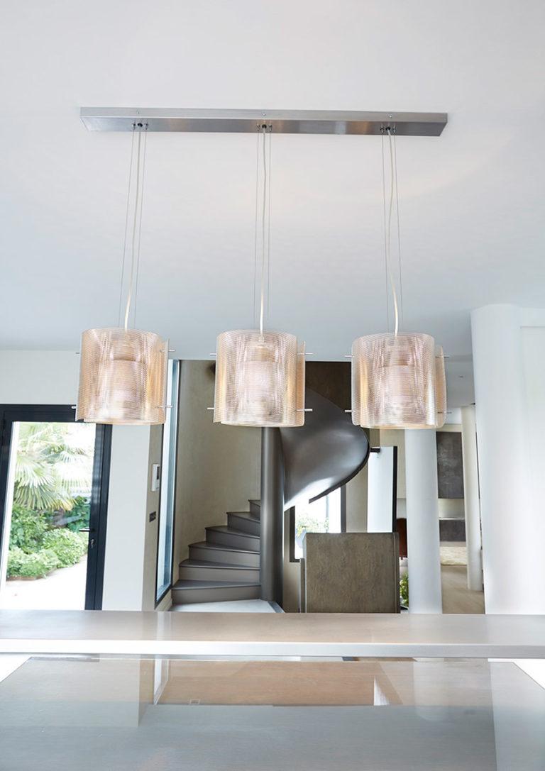 Lighting Ellipse trilogy in kitchen above a bar Thierry Vidé Design
