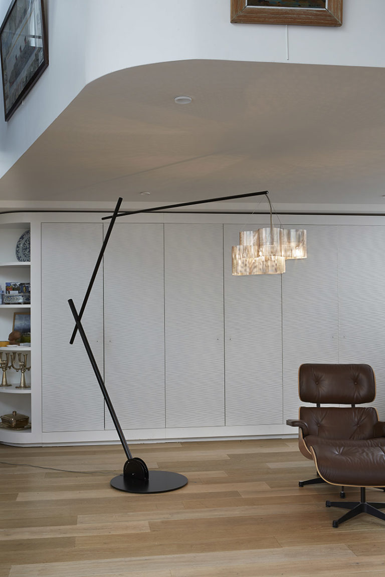 Lighting Arc floor lamp Tree light on with chair Thierry Vidé Design