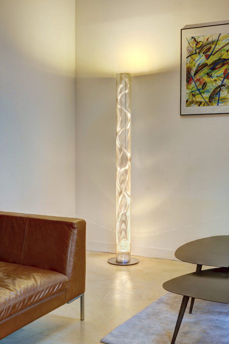 Lamp tall spiral column office Thierry Vidé Design