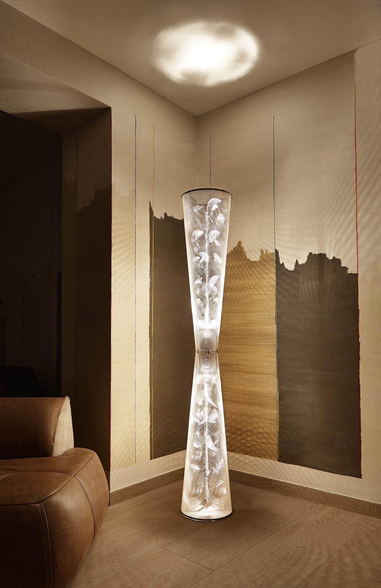 Luminaire Colonne de Lumière Florale intérieur Thierry Vidé Design