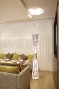 Lamp Floral column in restaurant stainess steel Thierry Vidé Design