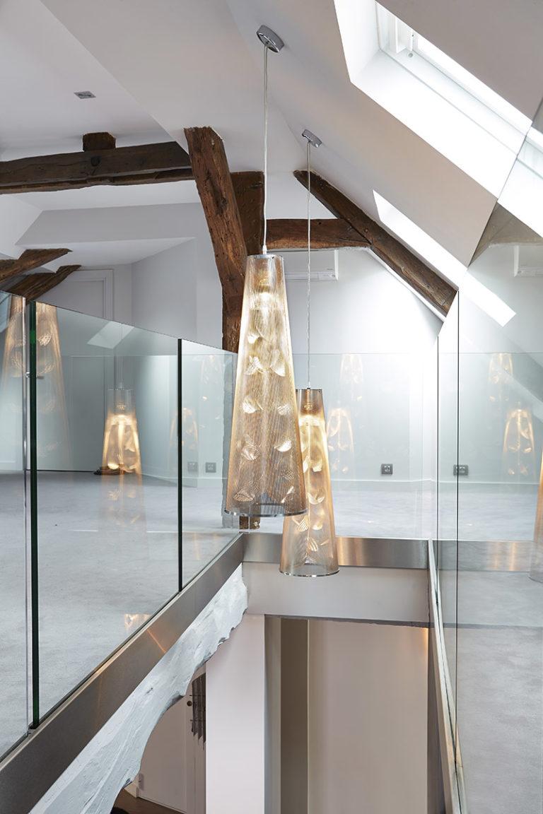Luminaire Suspension Florale descente d'escalier Thierry Vidé Design