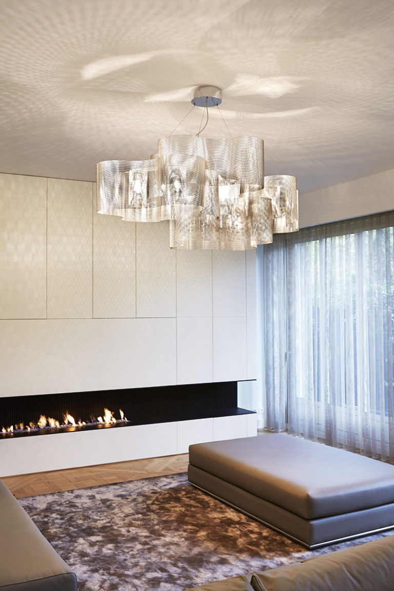 Lighting Suspension Cloud biggest size in living room with fireplace Thierry Vidé Design