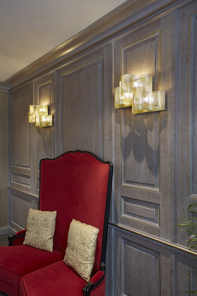 Lighting gold Cloud wall lamp hotel in paris Thierry Vidé Design