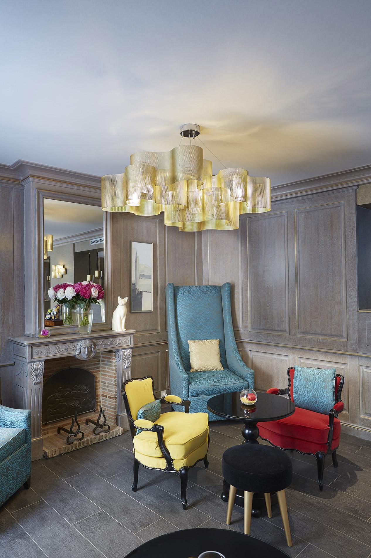 Luminaire Suspension Nuage medium doré hôtel Thierry Vidé Design