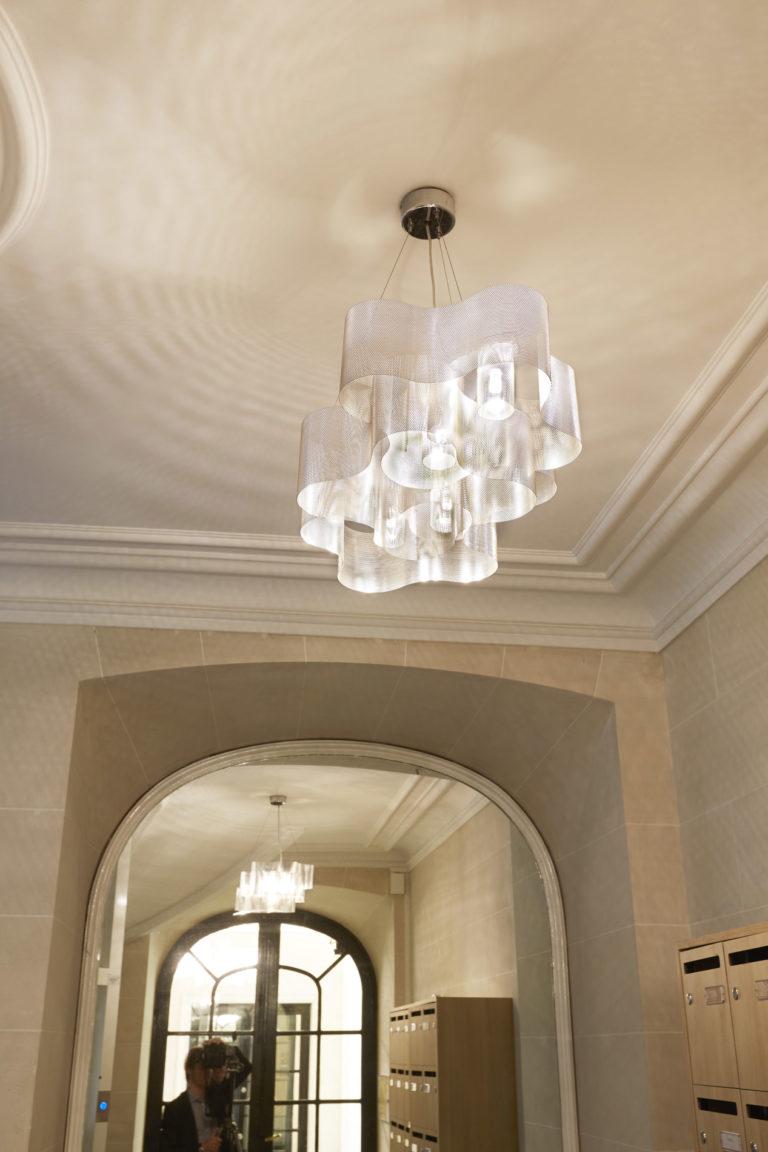 Luminaire Suspension Nuage hall d'entrée paris Thierry Vidé Design