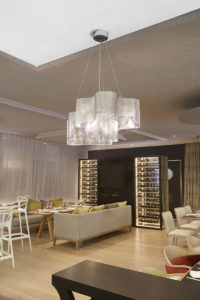 Lighting small cloud suspension project in hotel in roissy Thierry Vidé Design