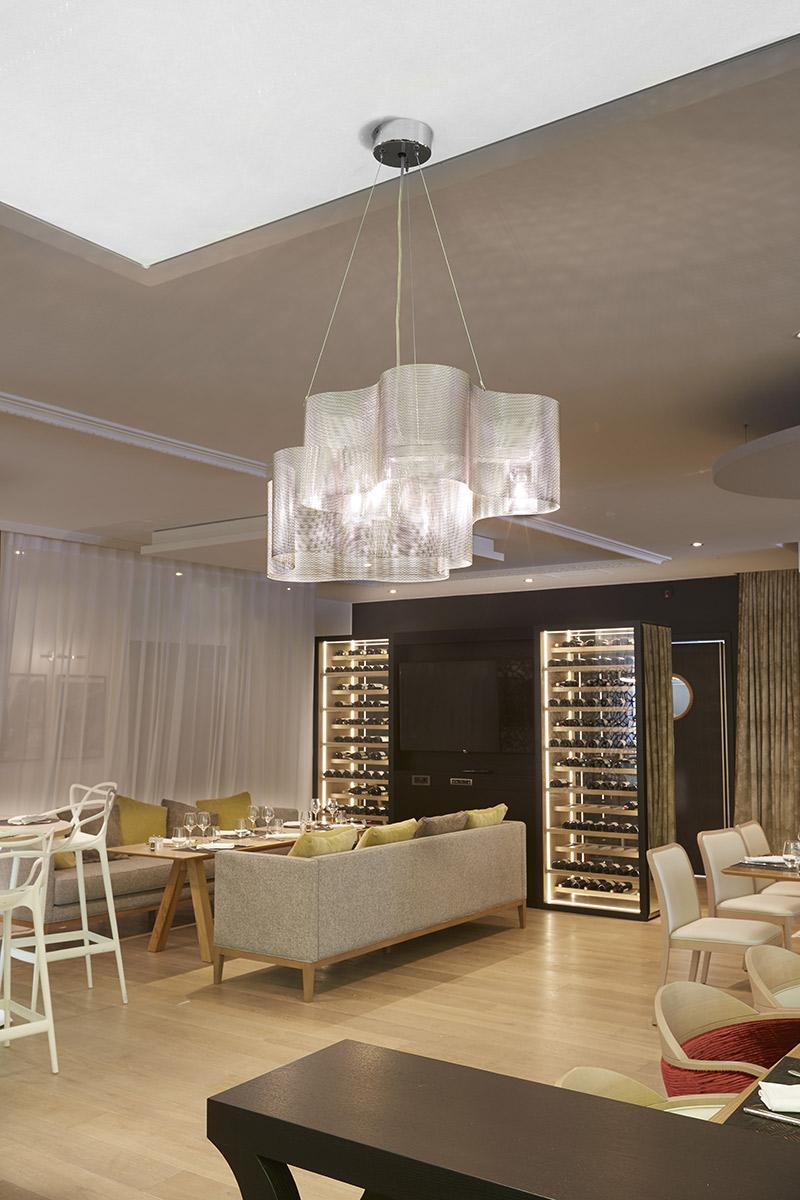 Luminaire Suspension Petit Nuage projet restaurant hôtel Thierry Vidé Design