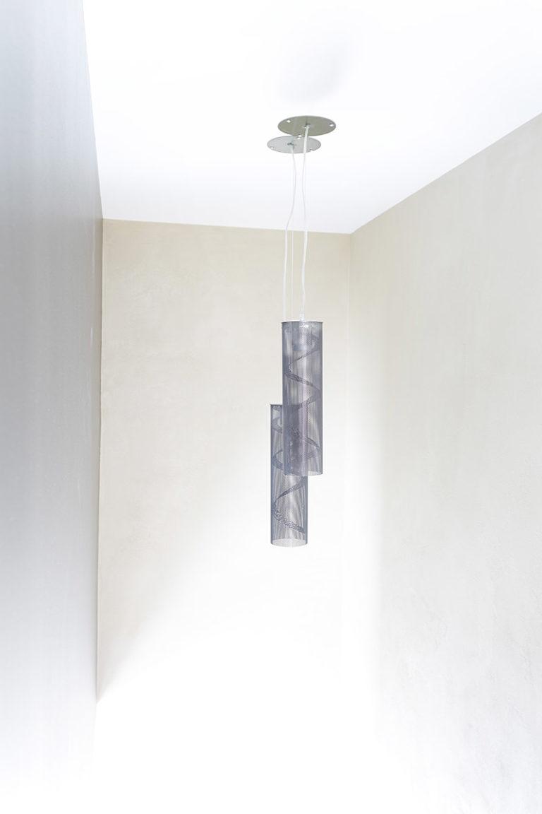 Luminaire suspension petite spirale canon de fusil Thierry Vidé Design