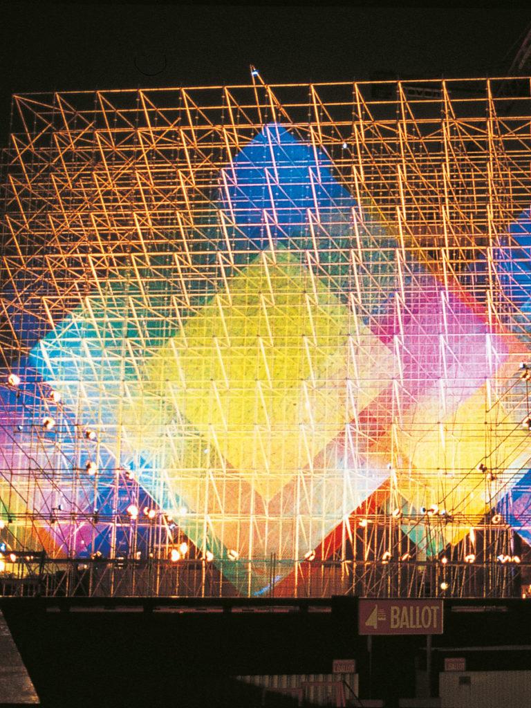 Sculpture La Défense nuit jaune Thierry Vidé Design