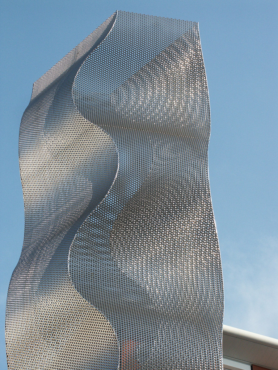 Sculpture colonne Onde Bois Colombes focus Thierry Vidé Design