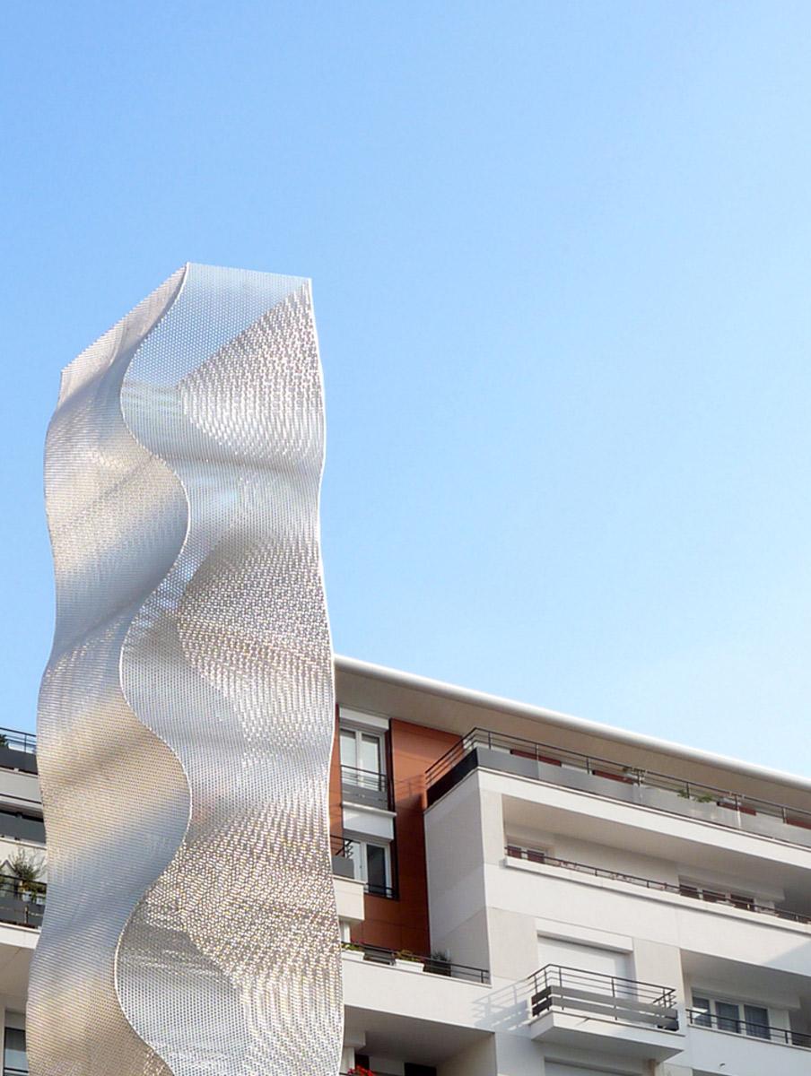 Sculpture colonne Onde Bois Colombes zoom Thierry Vidé Design