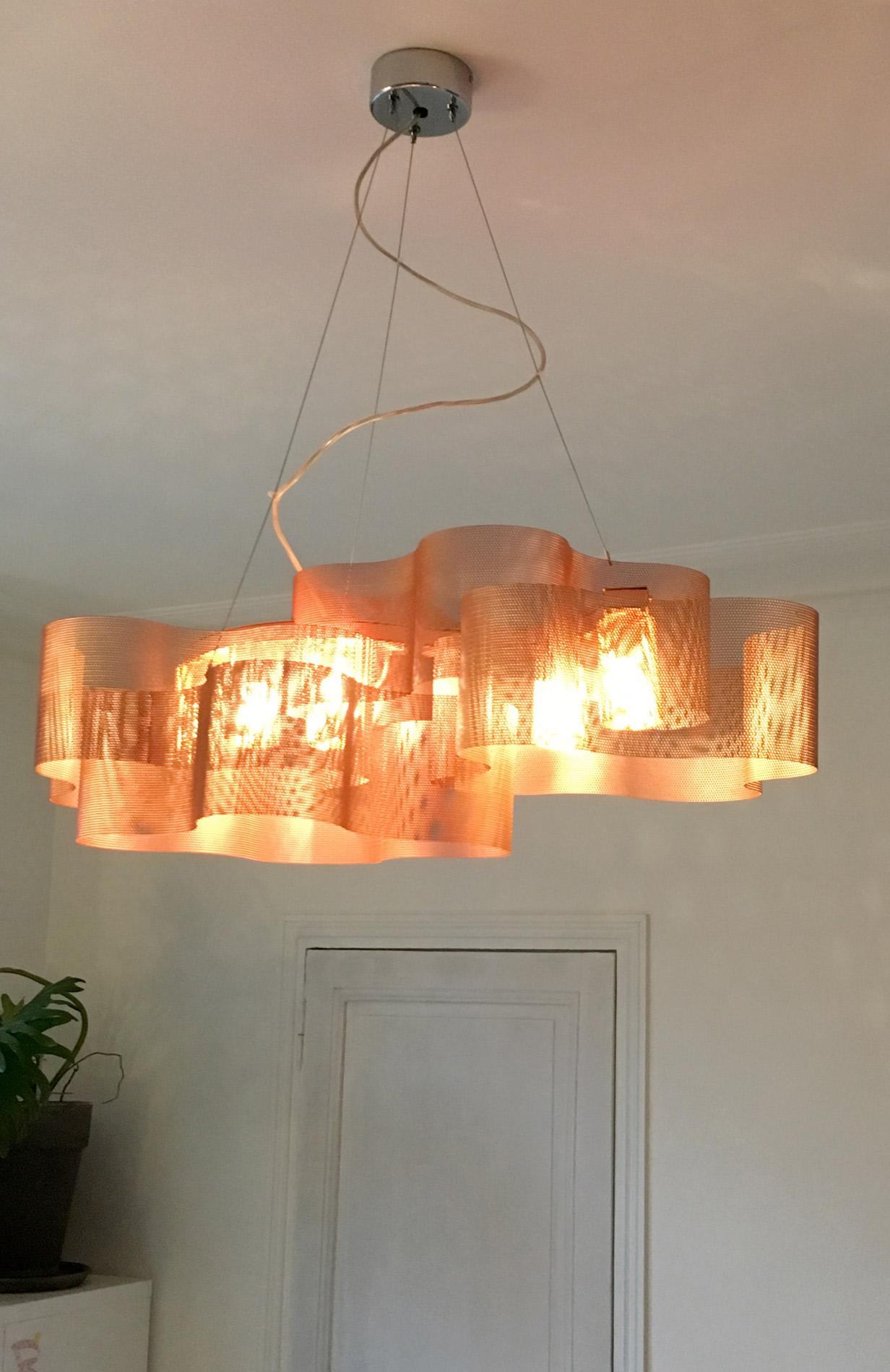 luminaire suspension nuage cuivre allumé therry vidé