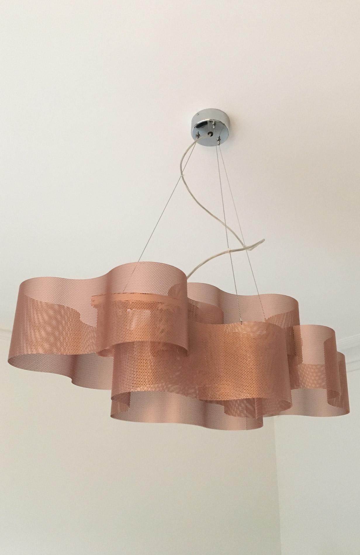 luminaire suspension nuage cuivre éteint thierry vidé