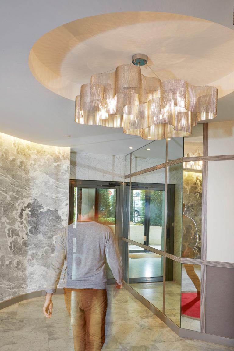Lighting suspension Cloud medium size at bank in Paris Thierry Vidé Design