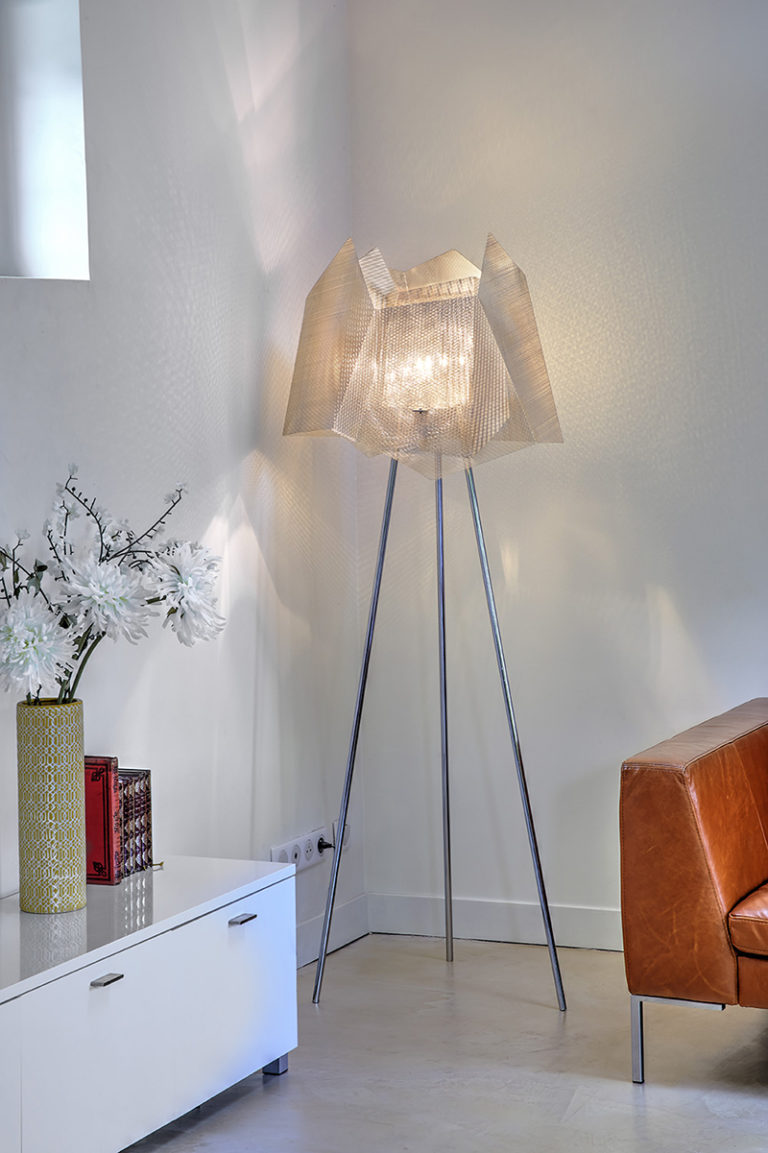 Light Big Crystal lamp full face stainless steel Thierry Vide Design